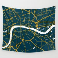 london map Wall Tapestries featuring London Map by Studio Tesouro