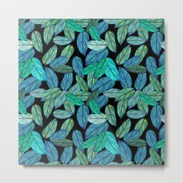 Tropical Greenery Watercolor leaves Metal Print