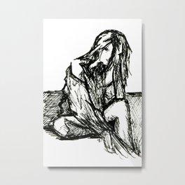 Sitting Female Sketch Metal Print