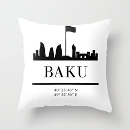 BAKU AZERBAIJAN BLACK SILHOUETTE SKYLINE ART Throw Pillow