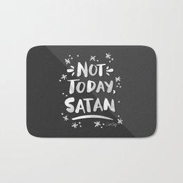 Not Today, Satan – White Ink on Black Bath Mat