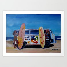Surf Bus Series - The Lady Flower Power VW Bus Art Print