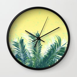 Palm leaves in the wind ( cream yellow ) Wall Clock