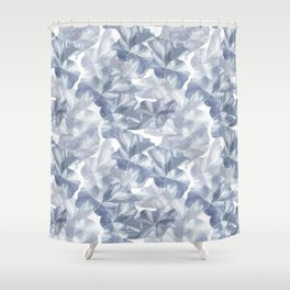 Lotus Wave in Blue Shower Curtain