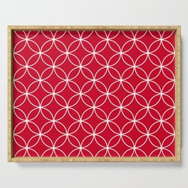 Red Flower of Life Geometric Pattern - Crossing Circles in Red and white Serving Tray
