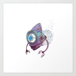 Blue robot Art Print