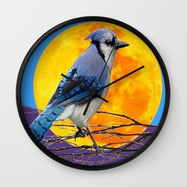 BLUE JAY & GOLDEN MOONSCAPE  ABSTRACT Wall Clock