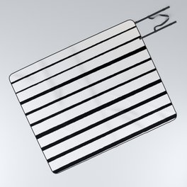 Black and White Rough Organic Stripes Picnic Blanket
