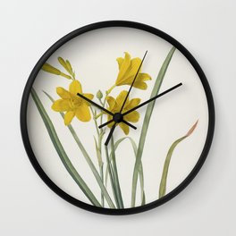 LEMON LILY - Yellow Daylily Flower Print Retro Vintage - Hemerocallis Flava - sweetly fragrant - Redoute Antique Wall Clock