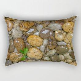 Top View of wet rock backgrounds in the tropical garden in 4:3 Ratio. Rectangular Pillow