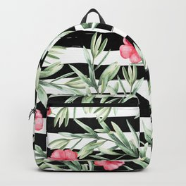 Delicate Hibiscus On Stripes Backpack