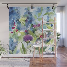 Blue Wild Flowers with Thistles and Daisies Wall Mural