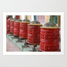 Red Prayers Turning Art Print