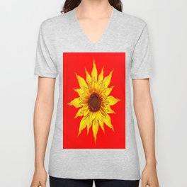 Decorative Yellow Sunflower On Chinese red Art Unisex V-Neck