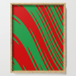 Candy Cane Christmas Red & Green Stripes Abstract Pattern Design Serving Tray