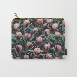 Evening Proteas - Pink on Charcoal Carry-All Pouch