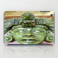 malachite iPad Cases featuring Malachite Aztec mask by lennyfdzz