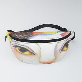 Miss Flower White Cat Floral Portrait Fanny Pack