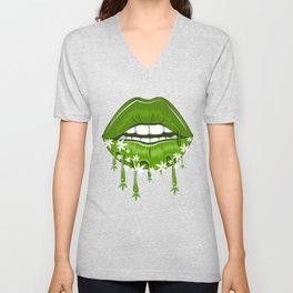 Bleeding Marijuana Lip Unisex V-Neck