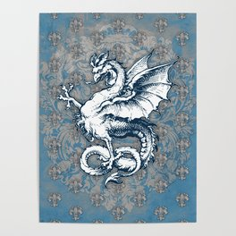 Noble House STEEL BLUE / Grungy heraldry design Poster