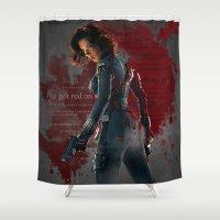 black widow Shower Curtains featuring Black Widow by Sindhu Tngm