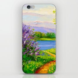 Lilac bloom on the river iPhone Skin