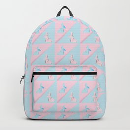 Pink and blue origami rabbit Backpack