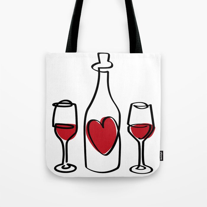 Red Wine and Love Tote Bag