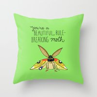 leslie knope Throw Pillows featuring Leslie Knope Compliments: Rule-Breaking Moth by Shebanimal
