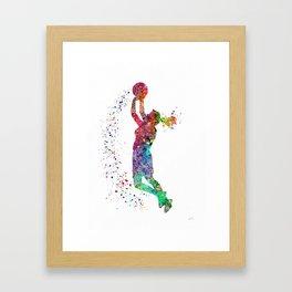 Basketball Girl Player Sports Art Print Framed Art Print