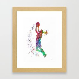 Basketball Girl Player Sports Art Print Gerahmter Kunstdruck