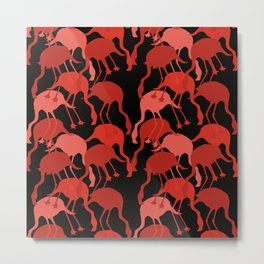 Red Flamingo Animal Camouflage Pattern Metal Print