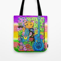 hippy Tote Bags featuring Hippy Puss by GrOoVy Photo Art
