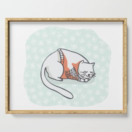 Christmas Kitten Embroidery Jumper and Present Box Clipart, Hand Drawn Serving Tray
