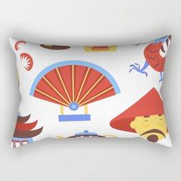China viajes símbolos de la cultura tradicional china patrón transparente ilustración vectorial Rectangular Pillow