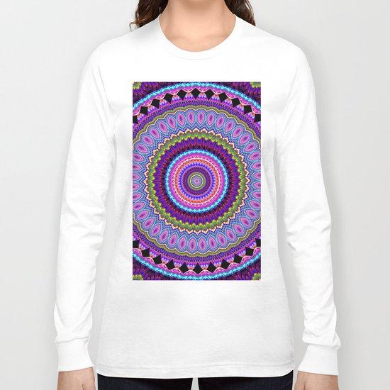 purple feathers Mandala Long Sleeve T-shirt