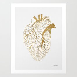 Heart Branches - Gold Art Print