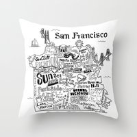 san francisco map Throw Pillows featuring San Francisco Map Illustration by Claire Lordon