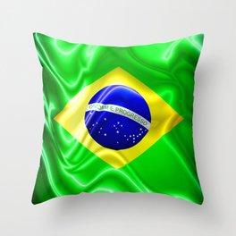 Brazil Flag Waving Silk Fabric Throw Pillow