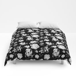 Black and White beaded flower print by Annalee Beer Comforters