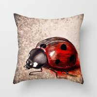ladybug Throw Pillows featuring Ladybug by Werk of Art