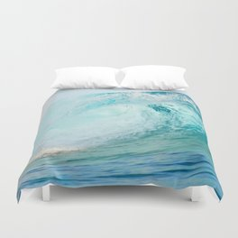 Pacific big surfing wave breaking Duvet Cover