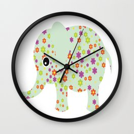 cute floral elephant Wall Clock