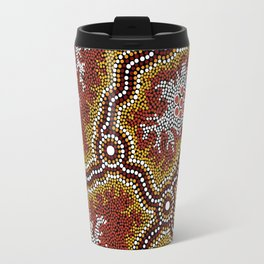 Aboriginal Art Authentic – Mountains Travel Mug