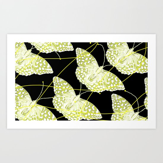 Butterflies on black background Art Print