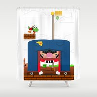 mario Shower Curtains featuring Mario by Ryan Miller