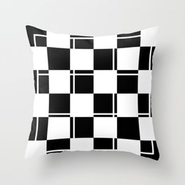 Black and white squares, crosses and lines Throw Pillow