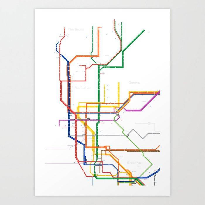 New York City Subway Map Art Print By Igorsin Society6