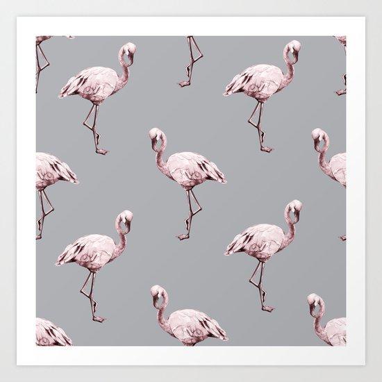 Simply Flamingo on Concrete Gray Art Print
