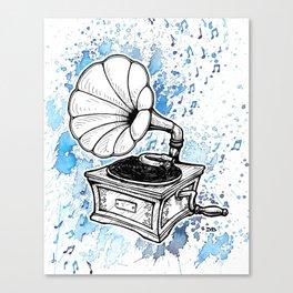 Vintage Record Player (Splash Music) Canvas Print